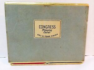 Vintage-CONGRESS-Playing-Cards-Double-Deck-in-Box-Cel-U-Tone-Finish-USA