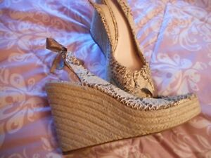 18893cf442a Details about Coach Maritza Wedge Heels size 10 Snakeskin Print Slingbacks  GREAT Condition