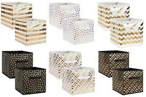 Storage-Cube-Basket-Fabric-Drawers-Gold-Cubby-Organizer-Box-Bin-2-Pack-11-Colors