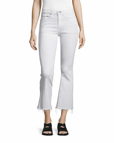 New Rag & Bone Crop Flare Raw Hem Jeans color  Bright White Size  27 -Z