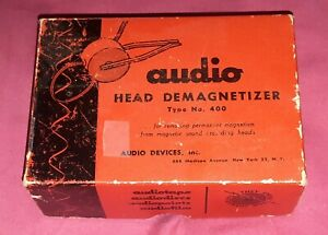 Vintage-AUDIO-DEVICES-HEAD-DEMAGNETIZER-Type-No-400-Original-Box-TAPE-DECK-REEL