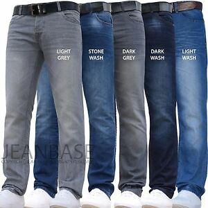 NEW-MENS-CROSSHATCH-SLIM-amp-STRAIGHT-FIT-JEANS-PANTS-DARK-BLUE-ALL-WAIST-LEG-SIZE