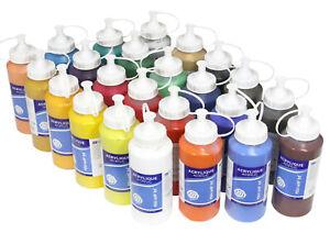 (7,92€/L) Acryl Profi-Farbset mit 24 Farben je 500ml, hochwertige Künstlerfarbe