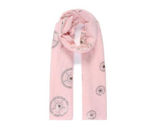 Ruby Rocks Lightweight Scarf RoseGold Tudor Rose Circle Metallic Foil print Pink