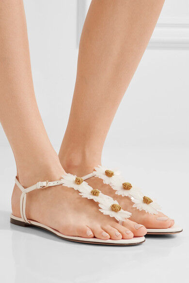 695 size 36 US 6 Charlotte Olympia Posey White Leather Thong Flower Sandals NEW