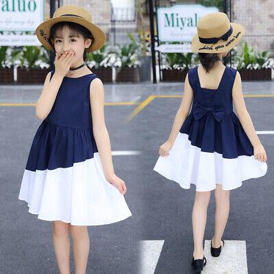 US Toddler Baby Kids Girl Princess Summer Casual Dress Sundress+Hat Outfit Set