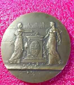 1930s-Port-Marseilles-French-Art-Deco-Splendid-bronze-medal-by-Martin-67mm-138g