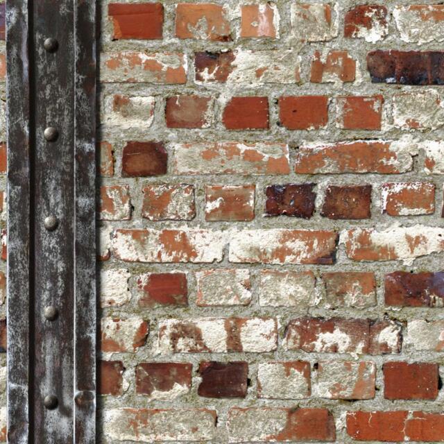 NEW MURIVA RED BRICK WOODEN BEAM FAUX STONE EFFECT BLOWN VINYL WALLPAPER J71508