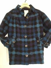 BURBERRY~Authentic $595 Plaid Woven Lined Peacoat Royal Blue Kids-GIRLS Size 7