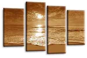 Sunset-Beach-Love-Art-Picture-Sepia-Cream-Landscape-Canvas-Wall-Print-112cm