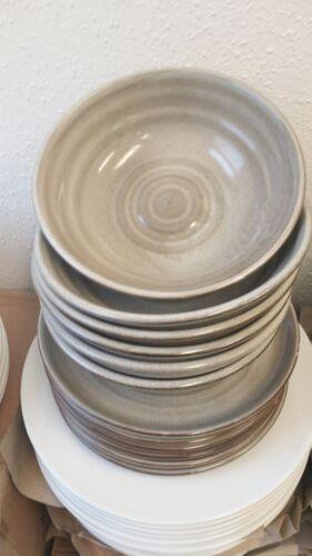 12 Set 6Teller 23cm 6 Schalen 19,5cm Porzellan Ston optik Neu