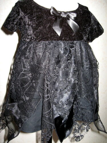 Nouveau Bébé Fille Noir Web araignées dentelle Pétale Robe Set Gothique Douche Cadeau Fête