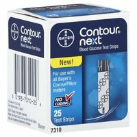2 Pack Bayer Contour Next Glucose Test Strips No Coding 25 Test Strips Each on sale