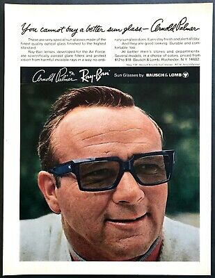 1969 Golf Legend Arnold Palmer Photo Wearing Ray Ban Sunglasses Vintage Print Ad Ebay New and used items, cars, real estate, jobs, services, vacation brand new tags on ray ban kids frames in classic wayfarer style style number 1528 size 48 tags on lenses are non prescription—just add your own. 1969 golf legend arnold palmer photo wearing ray ban sunglasses vintage print ad ebay
