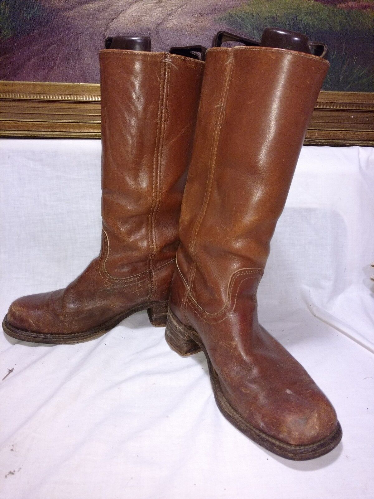 FRYE Men's Leather Boots Sz 8.5 D 2955t USA distressed used