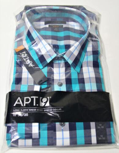 Apt 9 Stretch Slim Fit Mens Dress Shirt 18 34//35 Aqua Blue Landmark Plaid