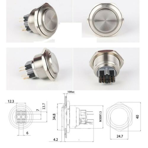 30mm Flat Round Stainless Steel IP65 Waterproof Push Button Switch GQ 30 CE RoHS