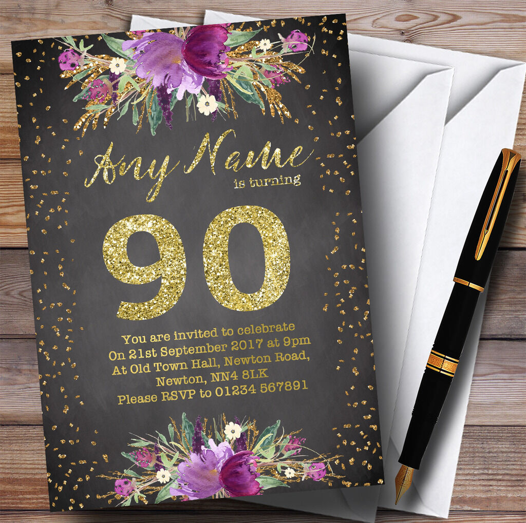Chalk Watercolour lila Gold 90th Personalised Birthday Party Invitations