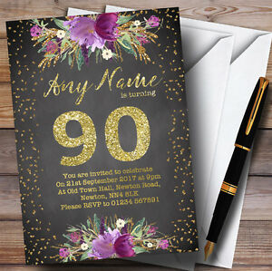 Chalk Watercolour Purple Gold 90th Personalised Birthday Party Invitations