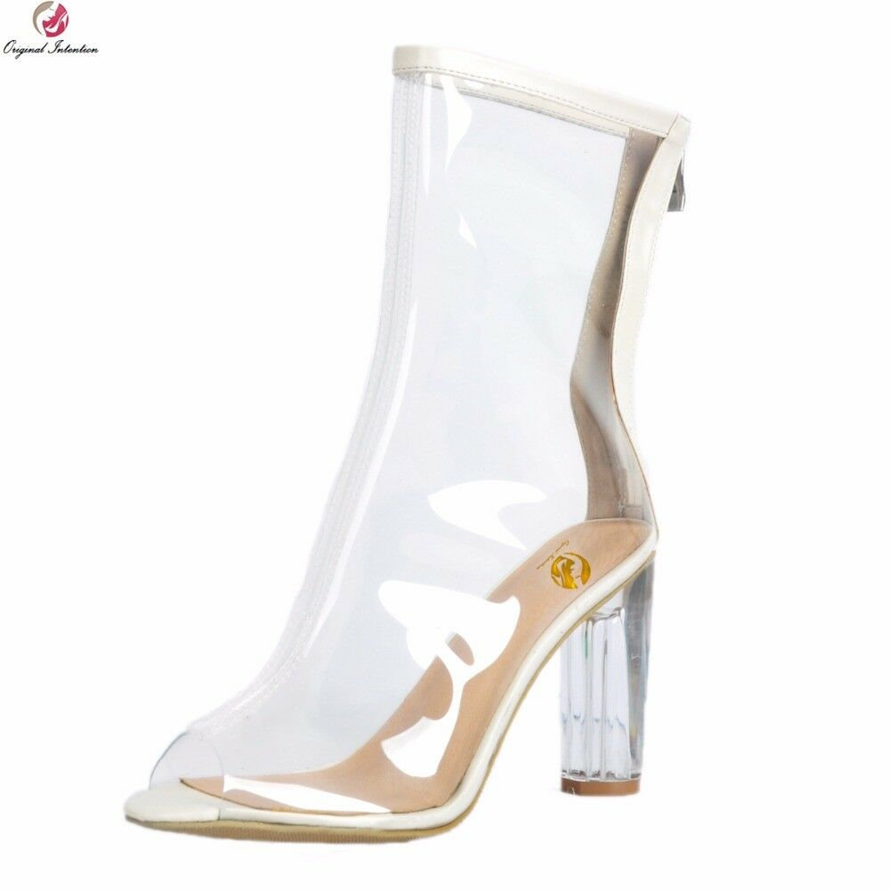 Sexy Women Ankle Boots Peep Toe High Heels Boots Transparent PVC Shoes Woman