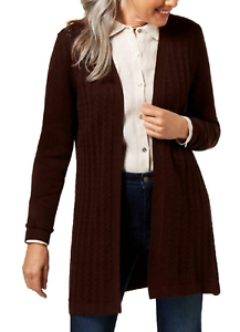 Karen Scott Women's M Brown Open Front Duster pointele Cardigan Sweater New #24