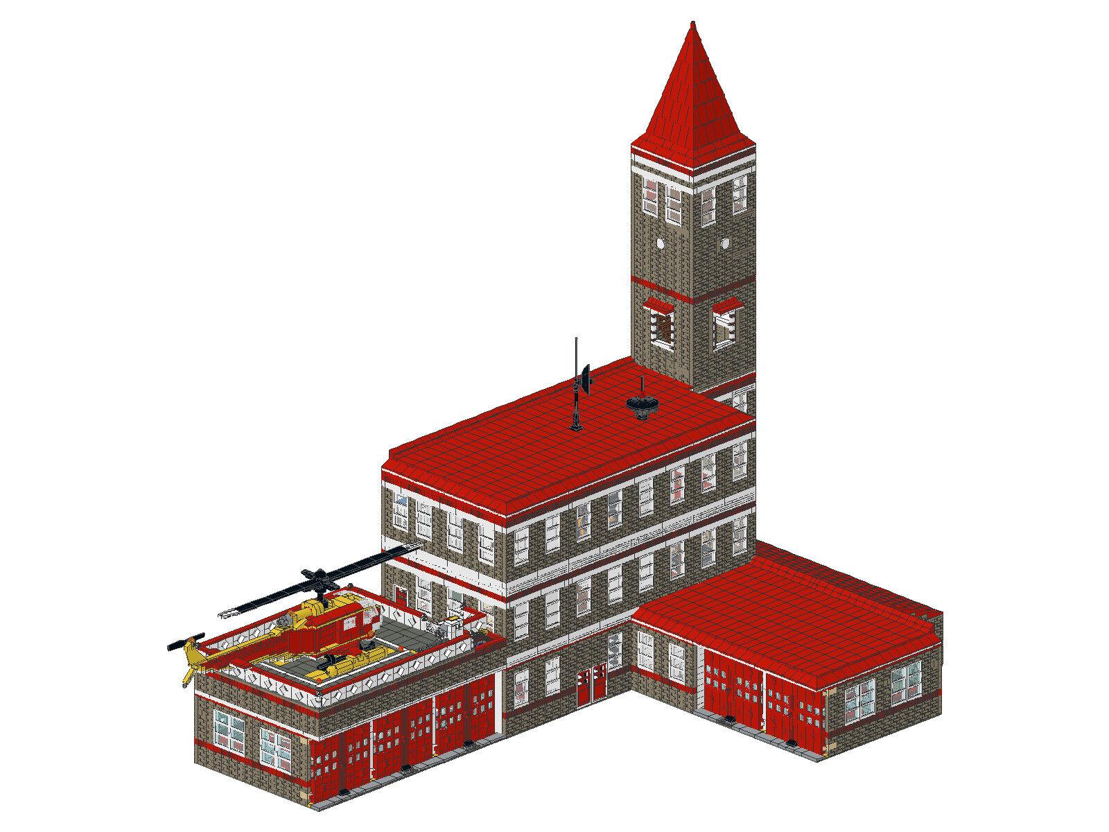 Bauanleitung instruction Feuerwehrwache 16 Module Unikat Eigenbau Moc Lego Basic