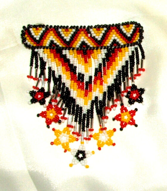 """Beaded Barrette w/ Star Fringe  3.25"""" W Leather Backed French Clip SFS05"""