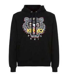 Sweat Felpa Black cinese Logo Kenzo con ricamato Tiger cappuccio awqp86a