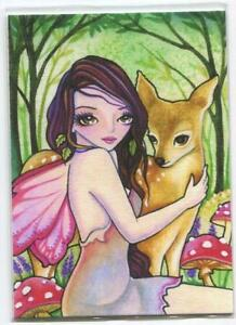 ACEO S/N LE FAIRY GIRL HAZEL EYES DOE DEER WOODS FOREST MUSHROOMS RARE ART PRINT
