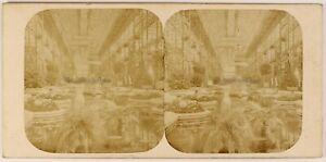 UK Londra Cristallo Palace Il Navata Centrale c1860 Foto Stereo Vintage Albumina