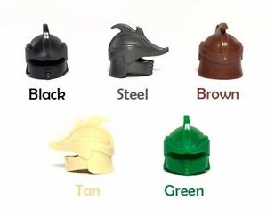 Custom ELVEN HELMET for Lego Minifigures Castle LOTR Fantasy Army BRONZE//Black