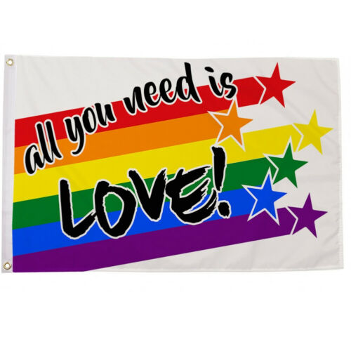 All you need is Love Flag Great for,Festivals 5ft x 3ft comes with a set Bungees