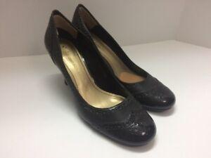 Etienne-Aigner-Seeker-Size-7-Women-039-s-Shoe-Brown-Patent-Leather-High-Heel-Wingtip