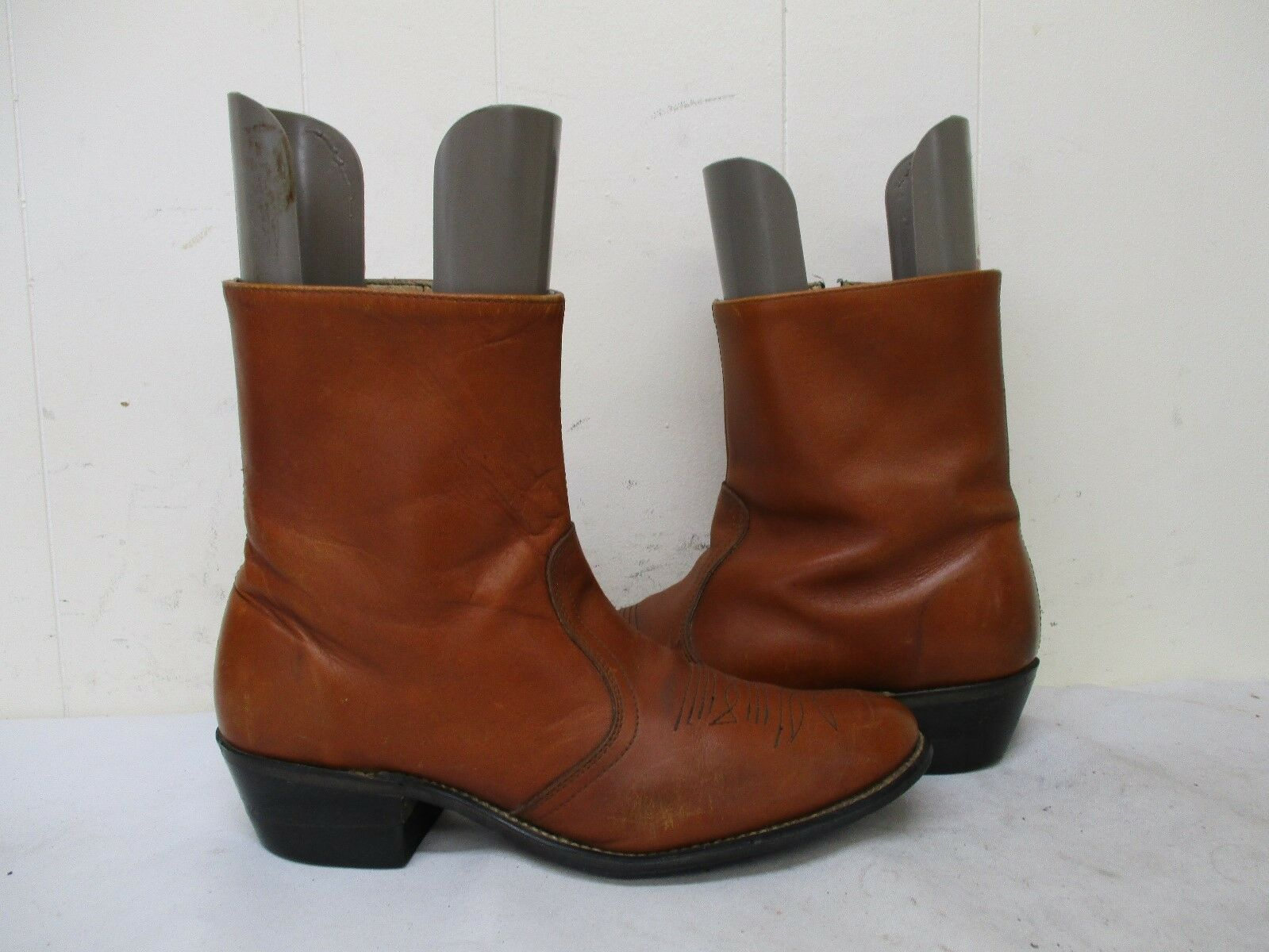 Brown Leather Cowboy Western Zip Ankle Boots Mens 1197 Size 9.5 B Style 1197 Mens USA 386abe