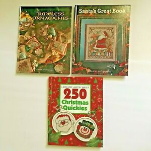 Lot-3-Christmas-Cross-Stitch-Books-250-Quickies-Stockings-Timeless-Ornaments