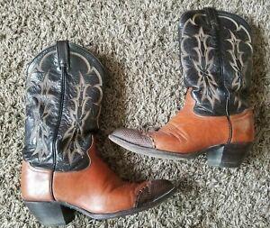 d6930a29e60 Details about Tony Lama Vintage 6951 Black Brown Lizard Toe Cowboy Western  Boots Mens 8 D