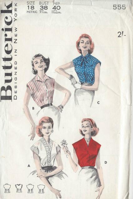 1950s Vintage Sewing Pattern B38 BLOUSE (1003)