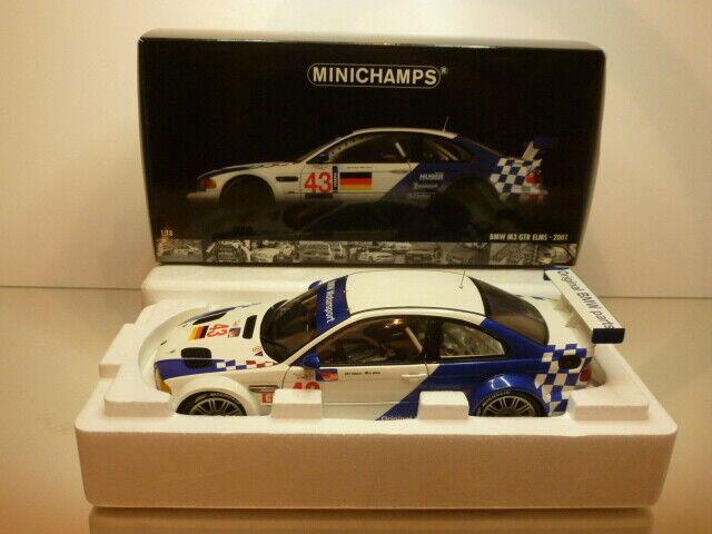 MINICHAMPS  BMW E46 M3 GTR ELMS 2001  43 - blanc+bleu 1 18 - EXCELLENT IN  BOX  achats de mode en ligne