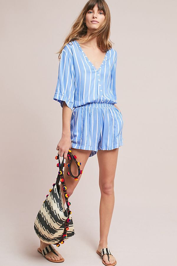 NWT ANTHROPOLOGIE BEACH gold BEACHgold ANCONA blueE STRIPE ROMPER JUMPSUIT XL 16