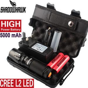 20000LM-X800-Shadowhawk-XML-L2-Tactical-Military-Flashlight-2PCS-5000mAh-Battery