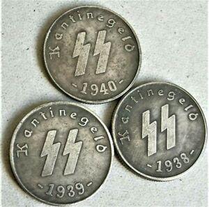 1938-40-WW2-SET-OF-3-GERMAN-S-S-COLLECTOR-COINS-50-PFENNIG-KANTINEGELD
