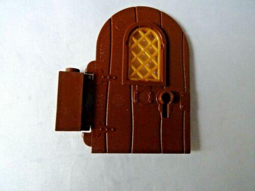 LEGO Parte 40241 /& 3581 Marrone Porta Round Top con cerniera marrone e oro riquadro x 1