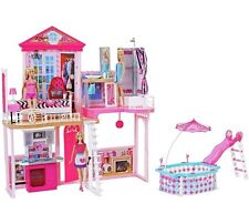 Beautiful Barbie Home Set Includes 3Dolls, Starter House, Pool & Furniture