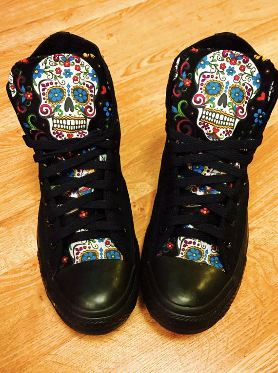 Sugarskull Converse Chuck Taylor shoes Day Day Day of the Dead High Tops 1131b2