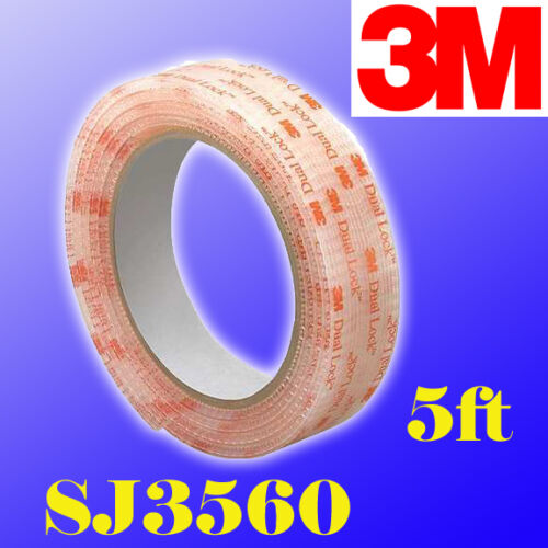 "1/"" W x 5/' In//Outdoor 3M Dual Lock SJ3560 Type 250 VHB Clear Reclosable Fastener"