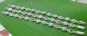 925-sterling-silver-Real-stone-034-RUBY-SAPPHIIRE-EMERALD-034-marcasite-Bracelet-WOMEN