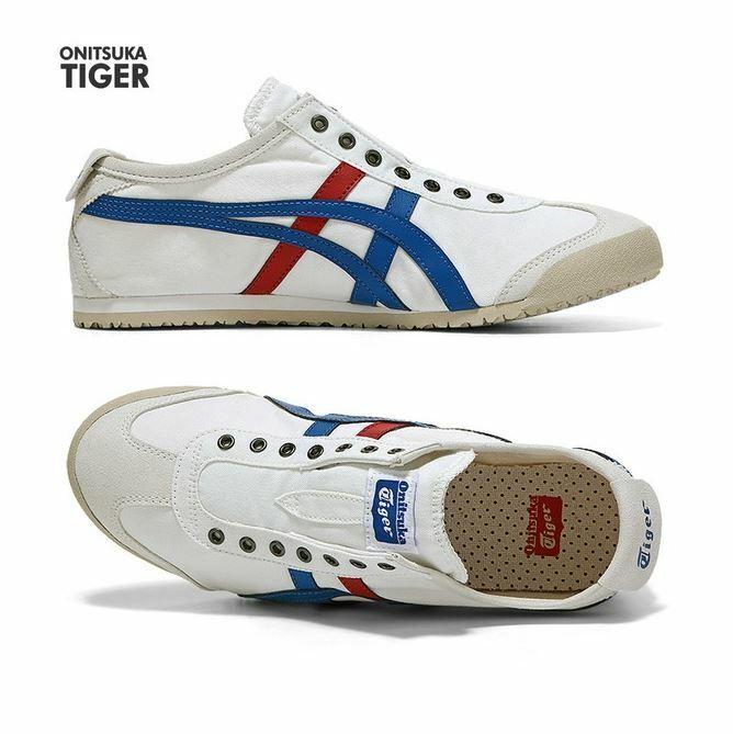 Asics Onitsuka Tiger Mexico 66 Slip-On blanc TriCouleur Fashion baskets,chaussures