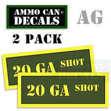 20 GA SHOT Ammo Can Box Decal Sticker Set bullet ARMY Gun safety Hunt 2 pack AG