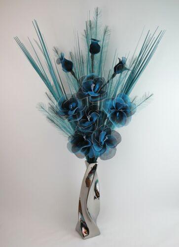 GRASSES IN SILVER CHROME VASE BLACK NETLON FLOWERS HANDMADE ARTIFICIAL TEAL