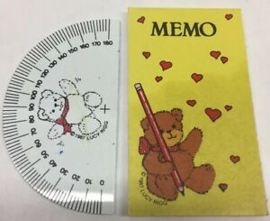 Vintage-1980s-Lot-LUCY-RIGG-Memo-Pad-Notebook-amp-Protractor-TEDDY-BEAR-Stationery